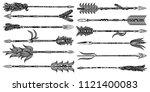 tribal boho arrow set in... | Shutterstock .eps vector #1121400083