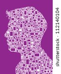 Profile silhouette of man made with Cellphones and Smartphones in purple background - stock vector