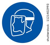 face shield must be worn symbol ... | Shutterstock .eps vector #1121402993