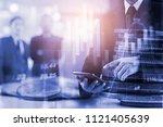 double exposure businessman and ... | Shutterstock . vector #1121405639