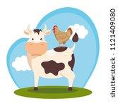 animals in the farm scene   Shutterstock .eps vector #1121409080