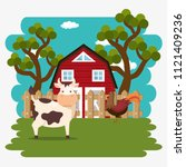 animals in the farm scene   Shutterstock .eps vector #1121409236