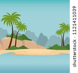 summer holidays beach scene | Shutterstock .eps vector #1121411039