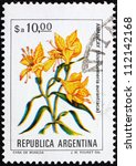 Small photo of ARGENTINA - CIRCA 1983: a stamp printed in the Argentina shows Peruvian Lily, Alstroemeria Aurantiaca, circa 1983