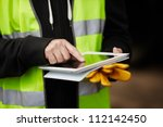 construction worker using... | Shutterstock . vector #112142450