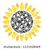 sunflower mosaic of triangle...   Shutterstock .eps vector #1121428469