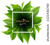 green tea leaves manu and... | Shutterstock .eps vector #1121436740