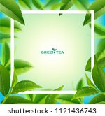green tea leaves manu and... | Shutterstock .eps vector #1121436743