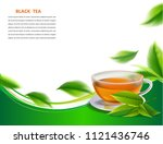 black tea leaves manu and... | Shutterstock .eps vector #1121436746