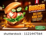 deluxe king size burger ads...   Shutterstock .eps vector #1121447564