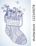Xmas color socks, bright illustration - stock photo