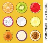 set of different fruits ... | Shutterstock .eps vector #1121460203