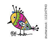 Sketch Of Funny Colorful Bird...
