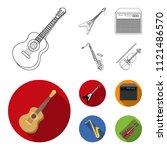 electric guitar  loudspeaker ... | Shutterstock .eps vector #1121486570