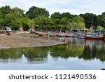 green bay lagoon reflection of... | Shutterstock . vector #1121490536