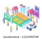 modern isometric smart farming... | Shutterstock .eps vector #1121490749