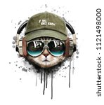 Stock photo watercolor cat listening a music illustration t shirt graphics custom print design for all types of 1121498000