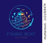 fishing boat  fish  seagull ... | Shutterstock .eps vector #1121505479