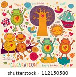 illustration with funny frogs.... | Shutterstock .eps vector #112150580