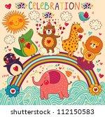 Stock vector vector set of funny happy animals greeting card happy birthday 112150583