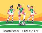 football woman team. girls with ... | Shutterstock .eps vector #1121514179