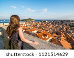 woman traveller at dubrovnik... | Shutterstock . vector #1121514629