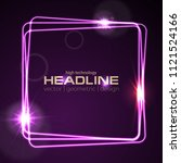 glowing violet neon square...   Shutterstock .eps vector #1121524166