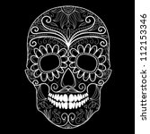 day of the dead black and white ... | Shutterstock .eps vector #112153346