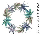 Cannabis Green Leaves In A...