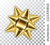 gold bow ribbon 3d decor... | Shutterstock .eps vector #1121555810