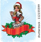 Santa Girl Pin Up  Holiday...
