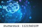 abstract blue digital head... | Shutterstock . vector #1121560109