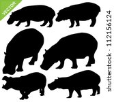hippopotamus silhouettes vector | Shutterstock .eps vector #112156124