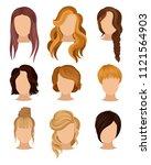 flat vector set of women s... | Shutterstock .eps vector #1121564903