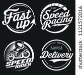 4 logo set design of speed   Shutterstock . vector #1121572016