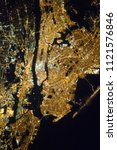 new york seen from space. night ... | Shutterstock . vector #1121576846