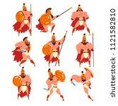 spartan warriors in golden... | Shutterstock .eps vector #1121582810