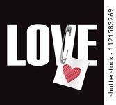 love t shirt fashion print on... | Shutterstock .eps vector #1121583269