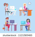 lady working by wooden tables ... | Shutterstock .eps vector #1121585483