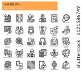gambling elements   thin line... | Shutterstock .eps vector #1121586749