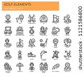 golf elements  thin line and... | Shutterstock .eps vector #1121586800
