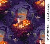 seamless halloween pattern with ... | Shutterstock .eps vector #1121588123