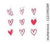 heart doodles  hand drawn... | Shutterstock .eps vector #1121590289