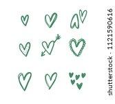 heart doodles  hand drawn... | Shutterstock .eps vector #1121590616