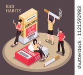 smoking addiction isometric... | Shutterstock .eps vector #1121592983