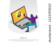 isometric concept with hacker... | Shutterstock .eps vector #1121593010