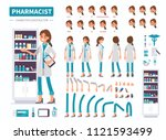 woman pharmacist character.... | Shutterstock . vector #1121593499