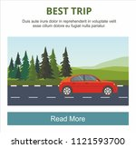 red car drive on the road... | Shutterstock .eps vector #1121593700