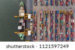 aerial view of container in... | Shutterstock . vector #1121597249