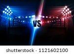 boxing ring arena vs letters... | Shutterstock .eps vector #1121602100